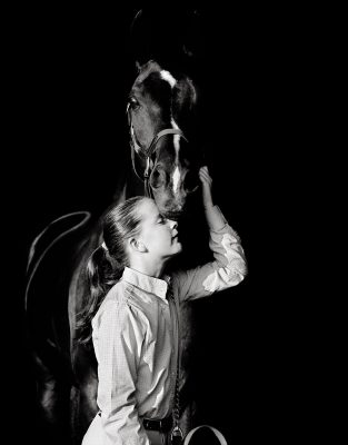 Catlin Equestrian Portrait Photography black white