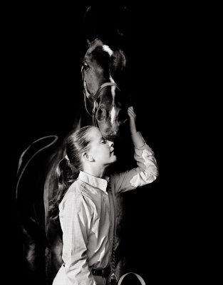 Catlin Equestrian Portrait Photography black white