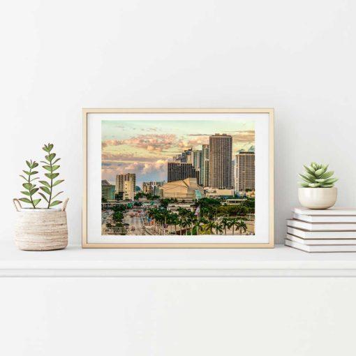 Adrienne-Arsht-Center-Miami-Canvas-Wall-Art-Beige-Frame