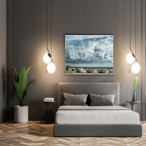 Cloudy-Skies-South-Beach-Miami-Canvas-Wall-Art Color Photography