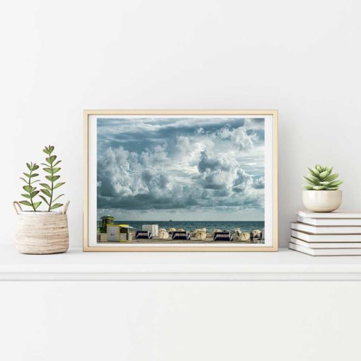 Cloudy-Skies-South-Beach-Miami-Canvas-Wall-Art--Frame Color Photography