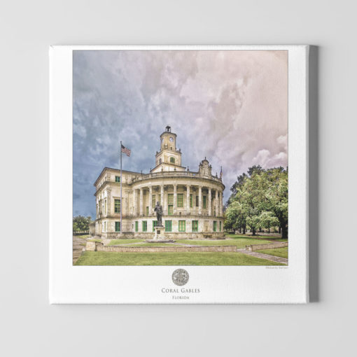 Coral-Gables-City-Hall-Poster-Cotton-Paper-Mounted