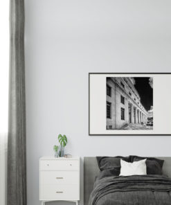 Downtown-Miami-Court-House-Black-&-White-Canvas-Wall-Art-Black-Frame