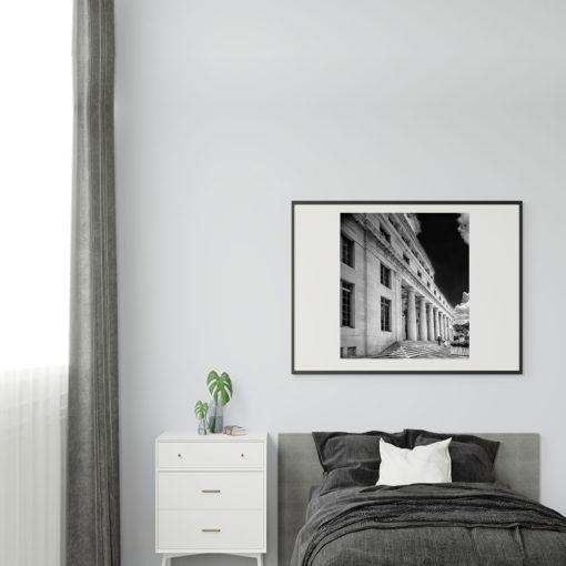 Downtown-Miami-Court-House-Black-&-White-Canvas-Wall-Art-Black-Frame