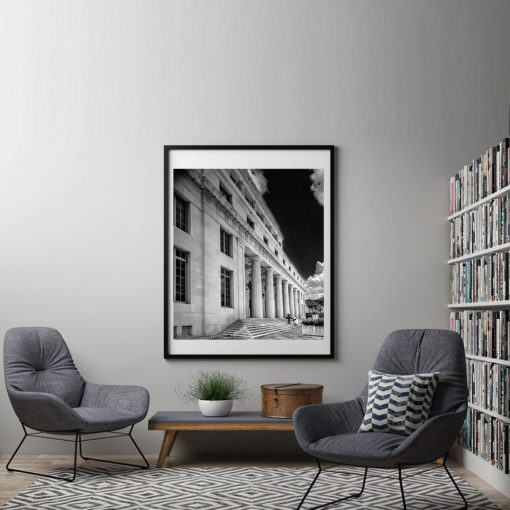 Downtown-Miami-Court-House-Black-&-White-Canvas-Wall-Art-Framed Black and white photography