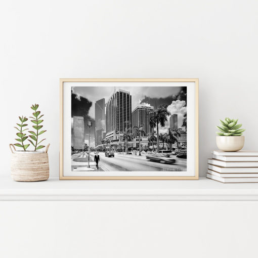 Downtown-Miami-First-Week-Y2k-Wall-Art-Beige-Frame-Black & White Photography