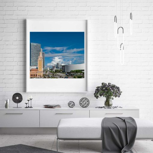 Downtown-Miami-Freedom-Tower-&-Arena-Canvas-Wall-Ar-Mountt-White-Frame- Color Photography