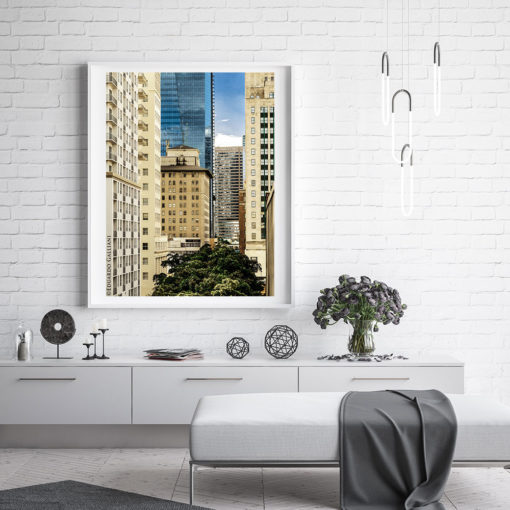 Downtown-Miami-Skyscrapers-Canvas-Wall-Art-White-Frame