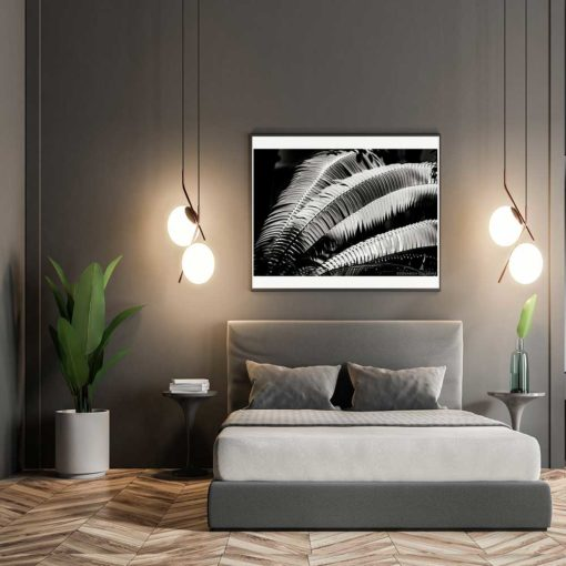 Fern-Plant-Standing-Leaves-Black-&-White-Canvas-Wall-Art-Grey-Frame black and white photography