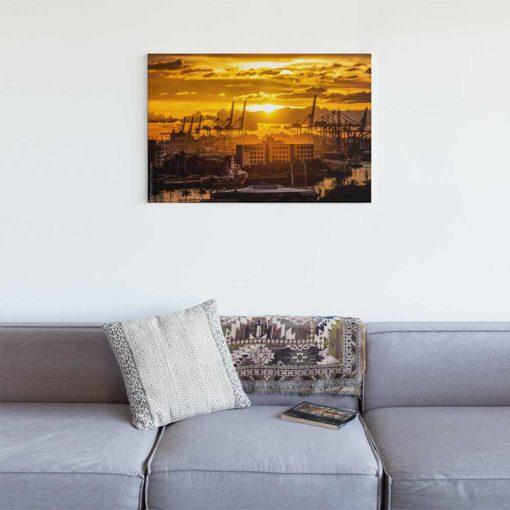 Golden-Sunset-Port-of-Miami-Canvas-Wall-Art