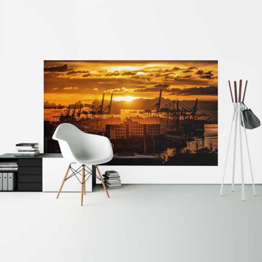 Golden-Sunset-Port-of-Miami-Canvas-Wall-Art-Decor