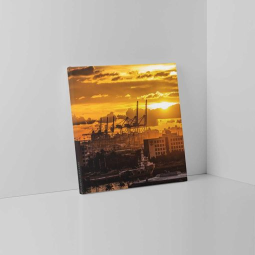 Golden-Sunset-Port-of-Miami-Canvas-Wall-Art-Photography