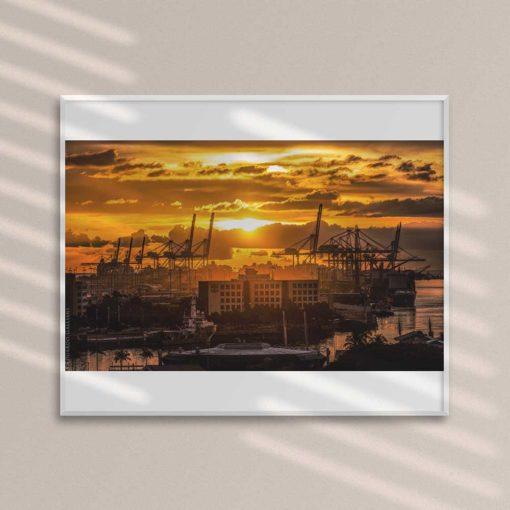 Golden-Sunset-Port-of-Miami-Canvas-Wall-Art-framed