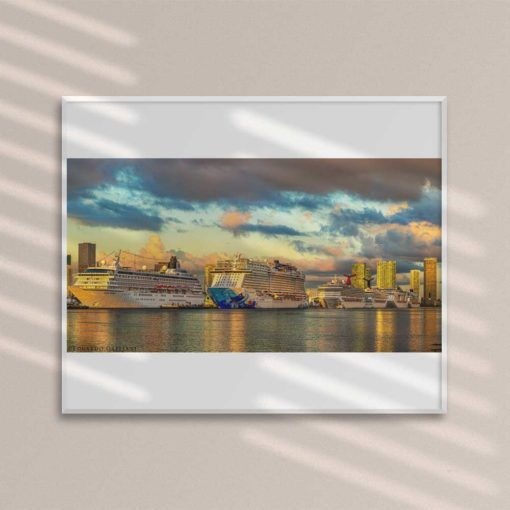 Miami-Main-Channel-Cruise-Port-Canvas-Wall-Art-framed