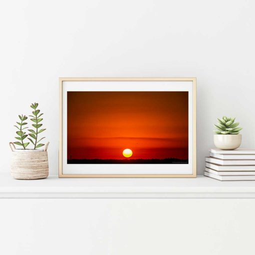 Red-Sky-Sunset-Over-Miami-Canvas-Wall-Art-beige-frame