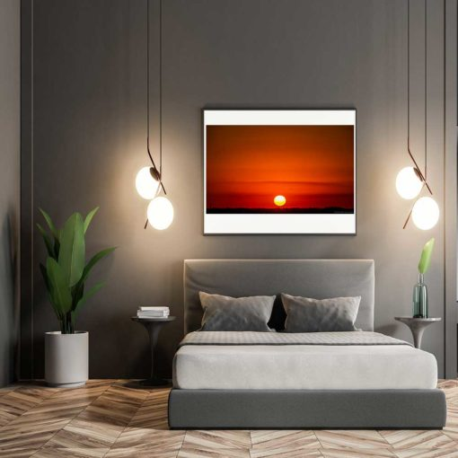 Red-Sky-Sunset-Over-Miami-Canvas-Wall-Art-grey-frame