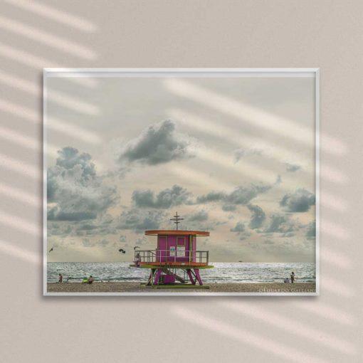 South-Beach-Life-Guard-Tower-Canvas-Wall-Art-Framed