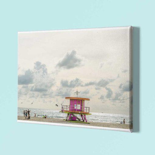 South-Beach-Life-Guard-Tower-Canvas-Wall-Art-Mount