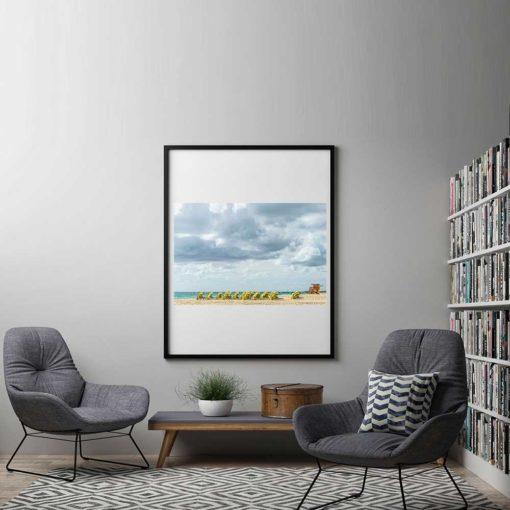 South-Beach-Miami-Mornings-Canvas-Wall-Art-black-frame Color Photography