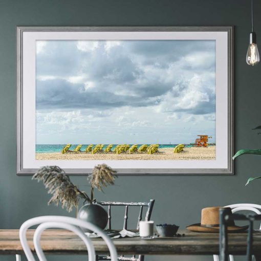South-Beach-Miami-Mornings-Canvas-Wall-Art-grey-frame Color Photography