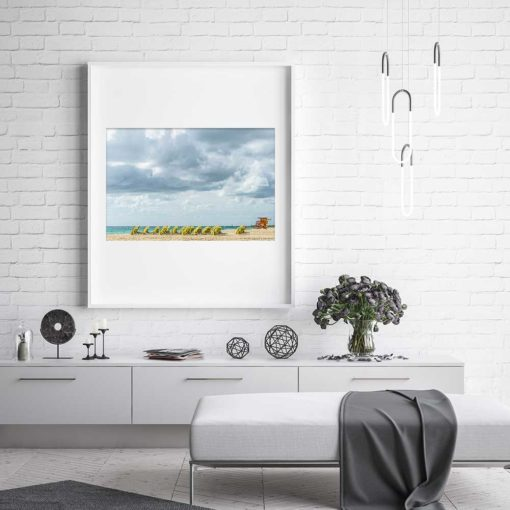 South-Beach-Miami-Mornings-Canvas-Wall-Art-white-frame Color Photography