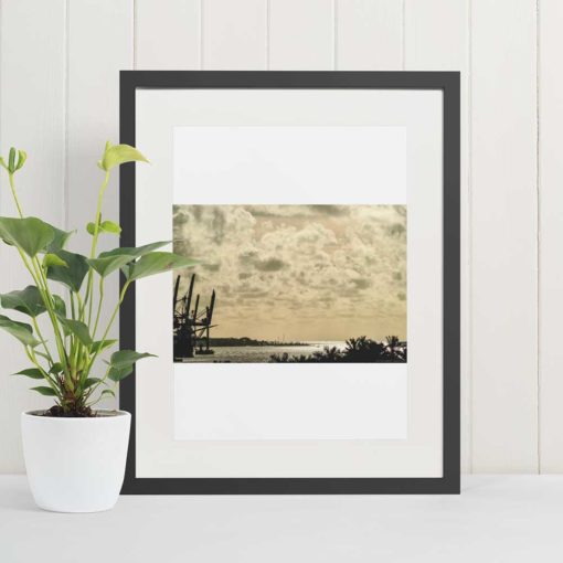 port-of-miami-sunset-canvas-wall-art-decor-grey-frame Color Photography